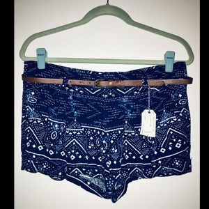Forever 21 tribal print shorts with brown belt